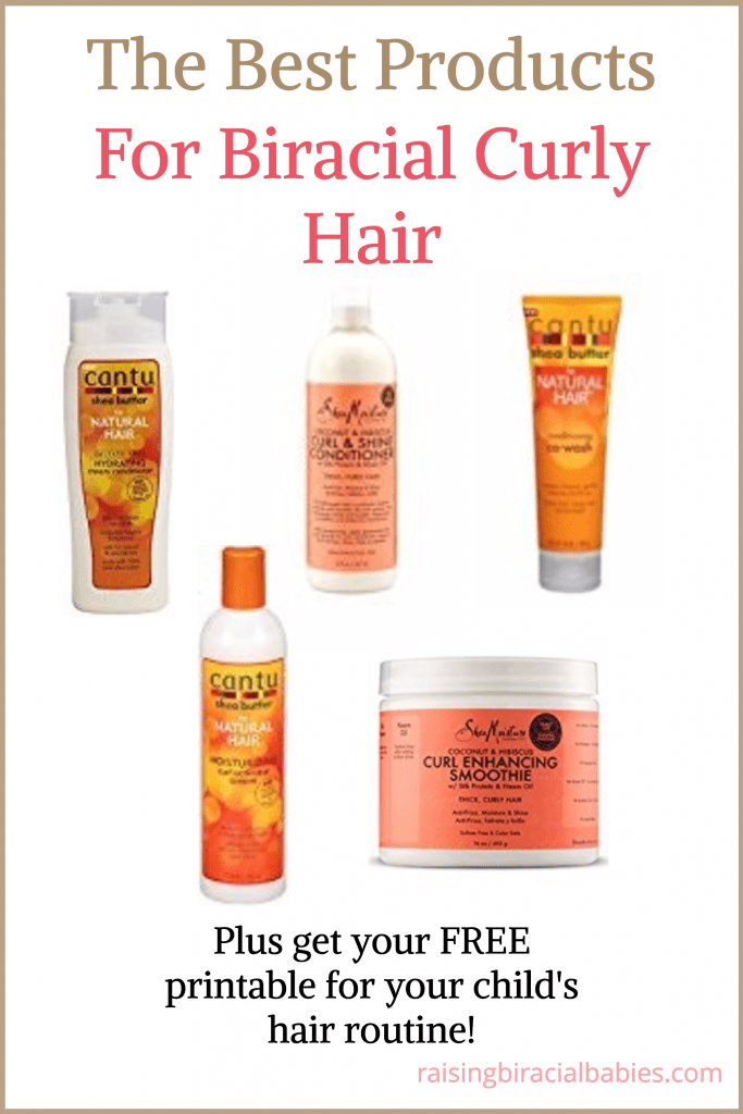 collage of hair products with text overlay that says the best products for biracial curly hair