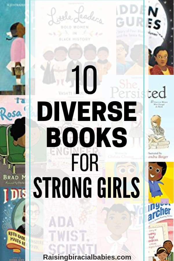 a collage of books with text overlay that says 10 diverse books for strong girls