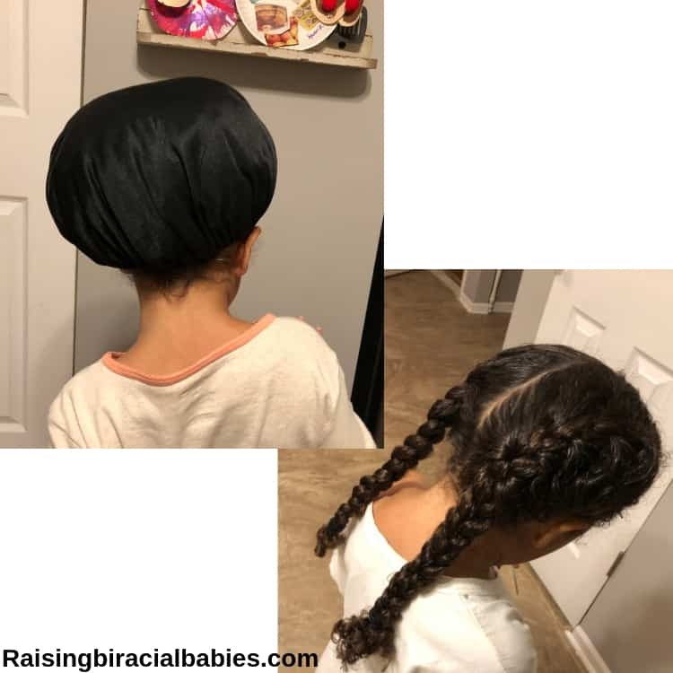 Two pictures of the back of a little girl's head. The one on the left, she is wearing a satin cap to sleep in, and the one on the right she is showing her french braid pigtails.