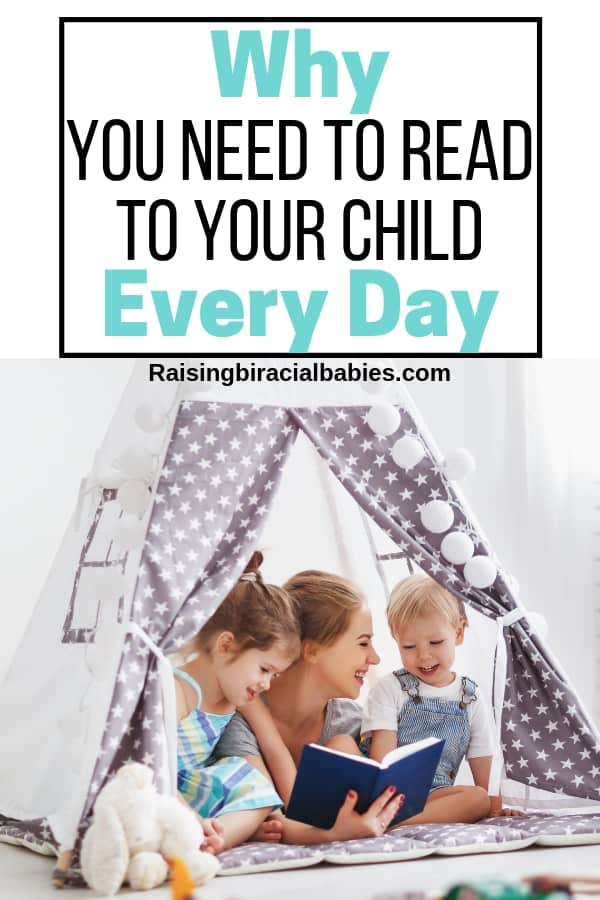 mom reading book to small children with text overlay why you need to read to your child every day.