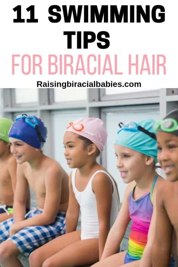 a group of little kids sitting on the edge of a pool in swimsuits and swim caps with text overlay that says 11 swimming tips for biracial hair