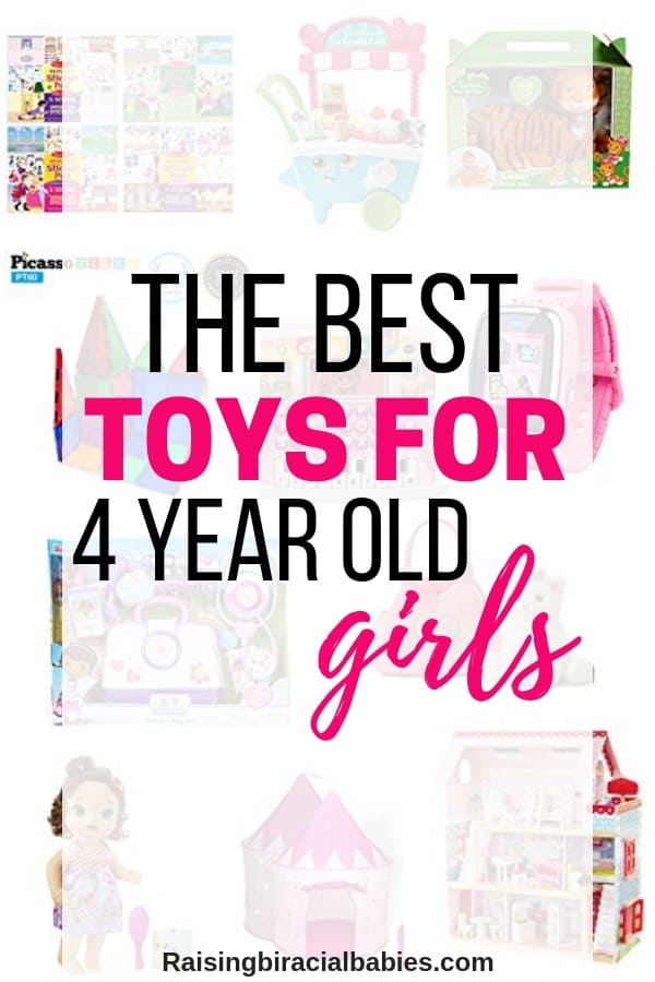 a collage of toys with text overlay that says the best toys for 4 year old girls