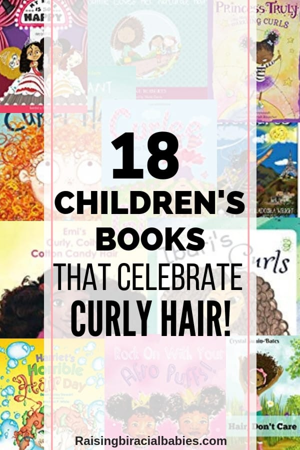collage of children's books with text overlay that says 18 children's books that celebrate curly hair