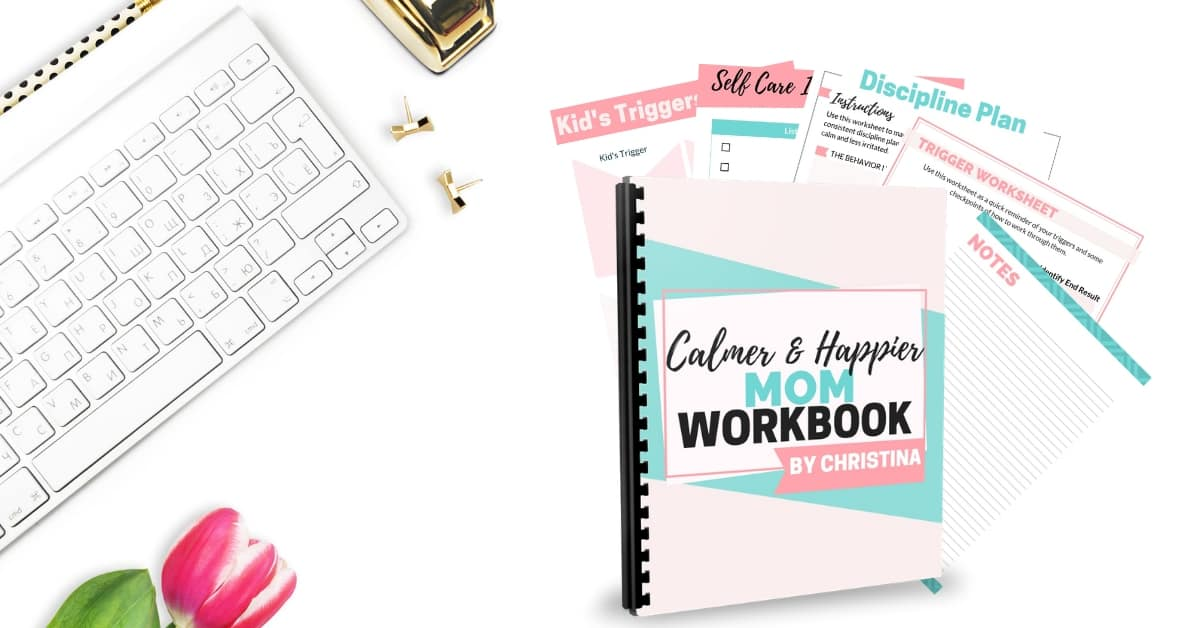 Are you at your wits end with your young kids? Do you yell or get mad all the time? You need this workbook to help you become less stressed, calmer, and happier!