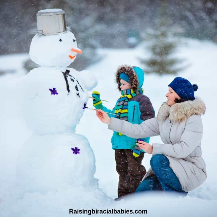 Playing in the snow is a simple but fun mother and son date idea
