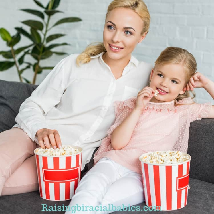 watching a movie is a great mother daughter date idea