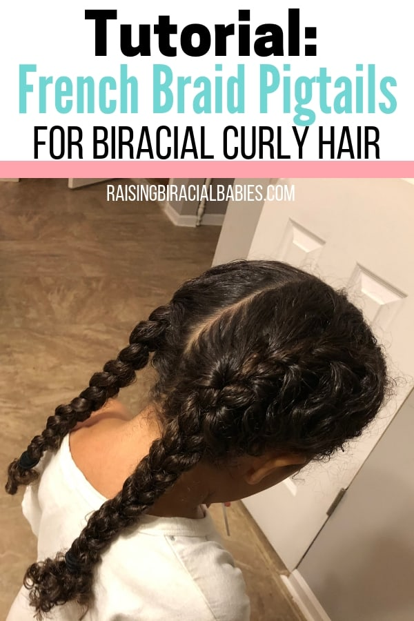Here's a great tutorial for french braid pigtails for biracial curly hair. This style is one example of cute braided hairstyles for mixed hair!