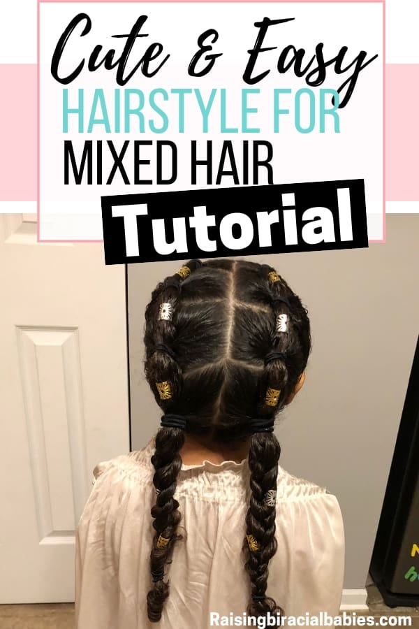 Looking for mixed girl hairstyles? This cute and easy style for biracial curly hair can easily be turned into several different ones!