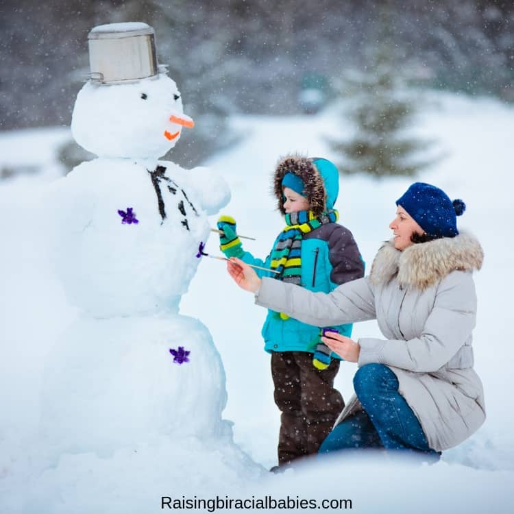 building a snowman is a perfect family activity