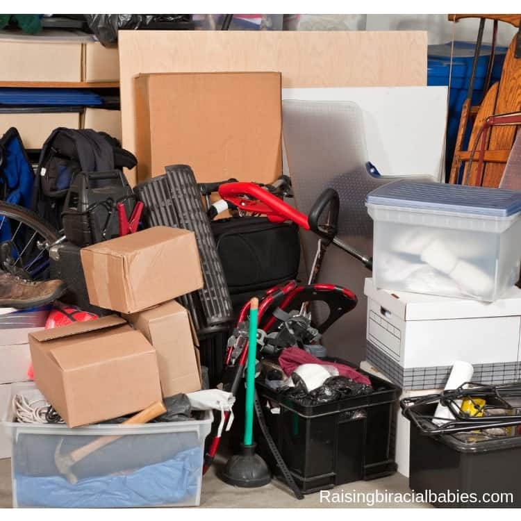 when decluttering your home, go through your boxes and bins and group what you need together so you can find it easily.