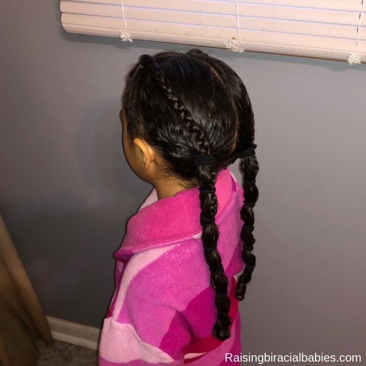 Banded ponytail for biracial curly hair