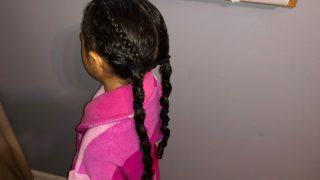 Mixed Kids Hairstyle: Banded Ponytail For Biracial Curly Hair