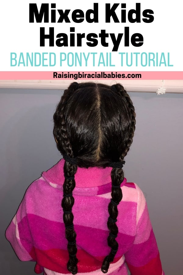 This mixed kids hairstyle is perfect for parents who don't like braiding or want a simple style. Check out this tutorial for a banded ponytail for biracial curly hair!