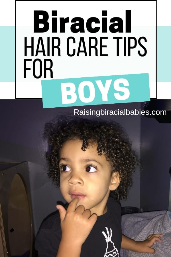 Looking for tips on how to do your mixed son's hair? Check out this complete guide to biracial boy hair care! You'll find tips for cleansing, detangling, products, and styling!