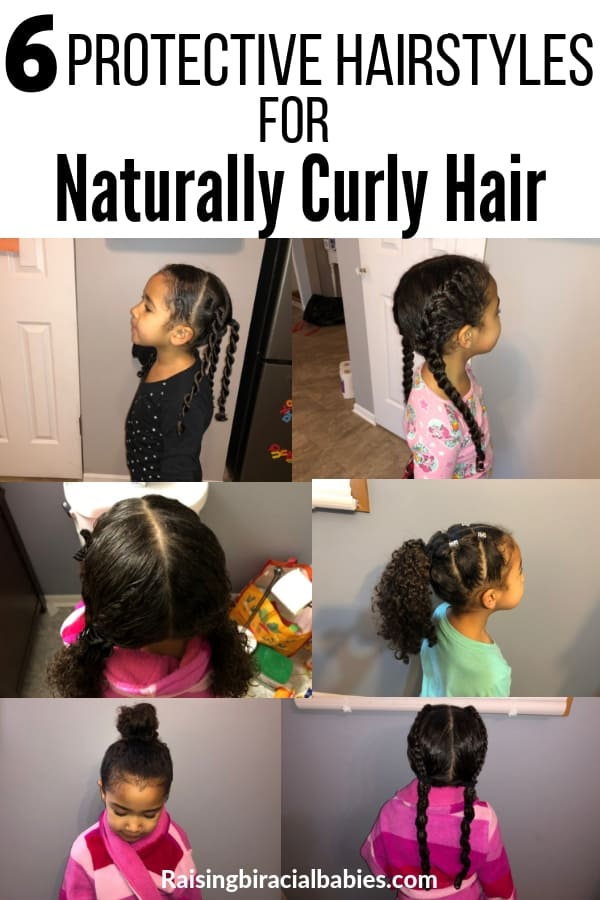 six different hairstyles on a little girl with text overlay that says 6 protective hairstyles for naturally curly hair