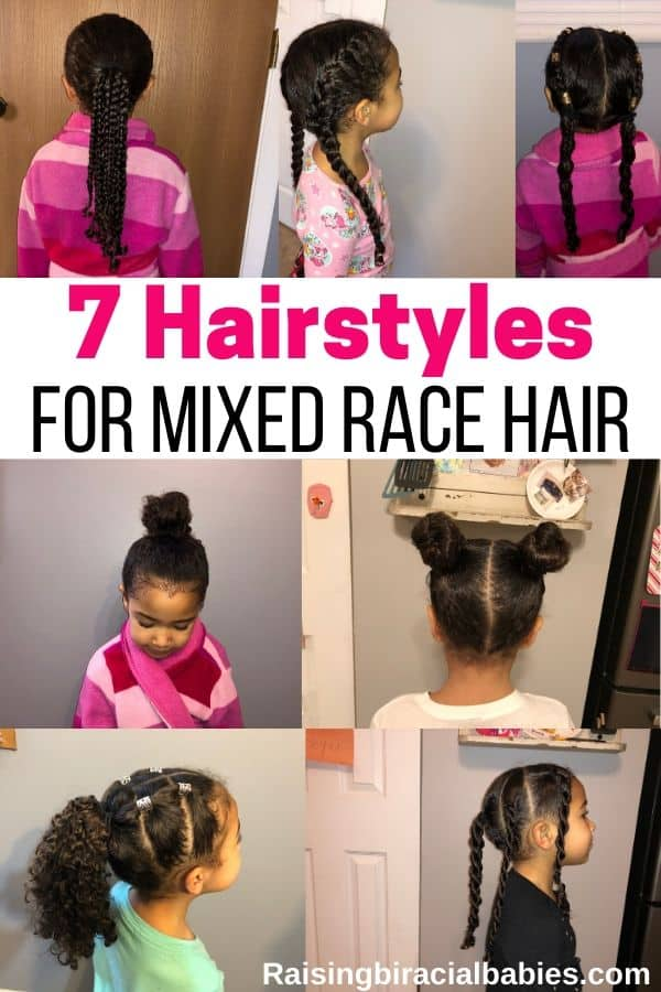 A collage of hairstyles for mixed race curly hair