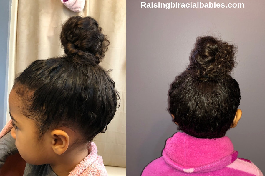How To Create An Easy Top Knot For Curly Biracial Hair