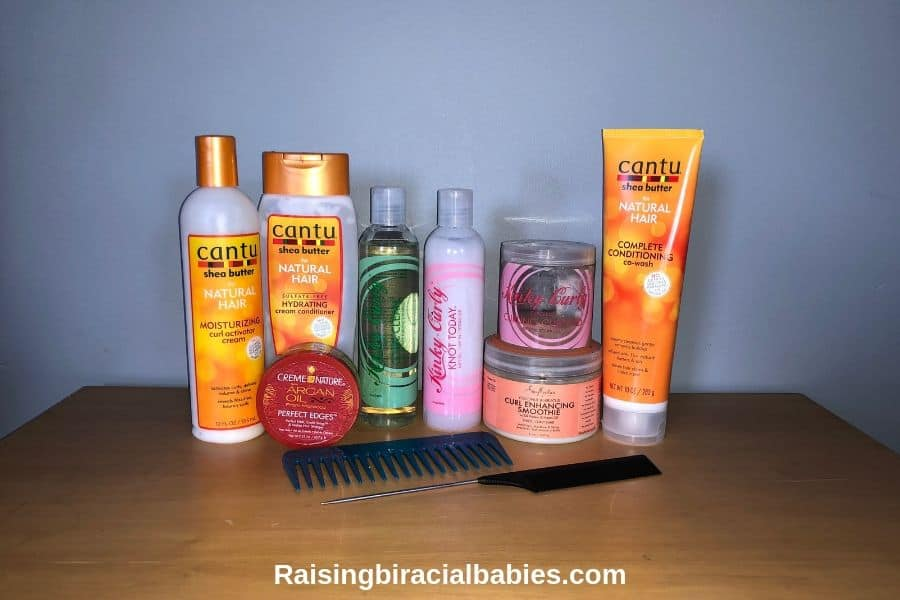 a close up of several hair products specifically for naturally curly hair