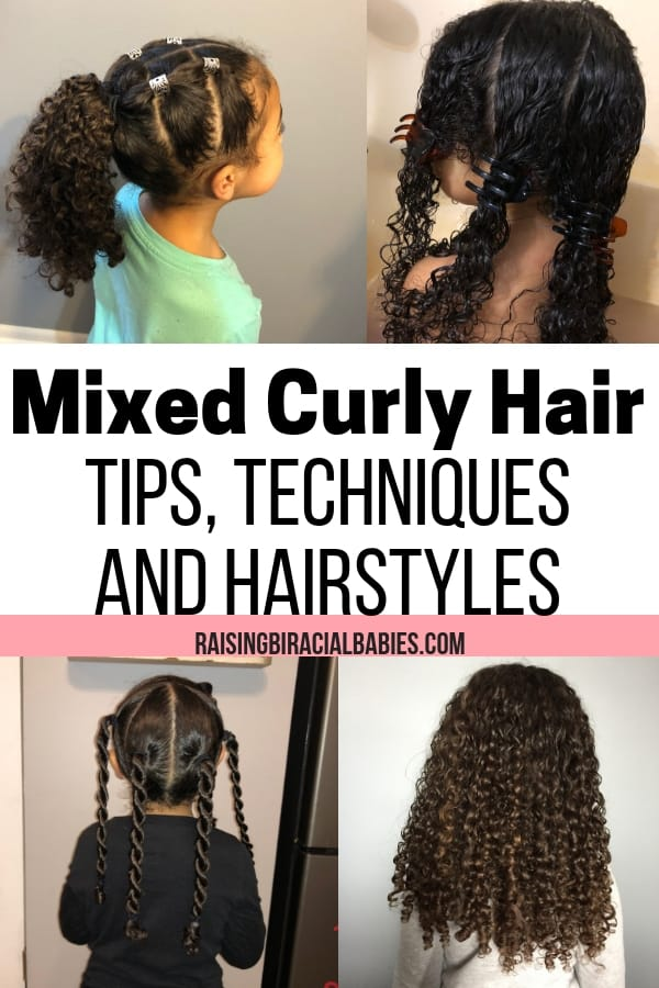 little girl with biracial curly hair with text overlay that says mixed curly hair tips, techniques, and hairstyles.