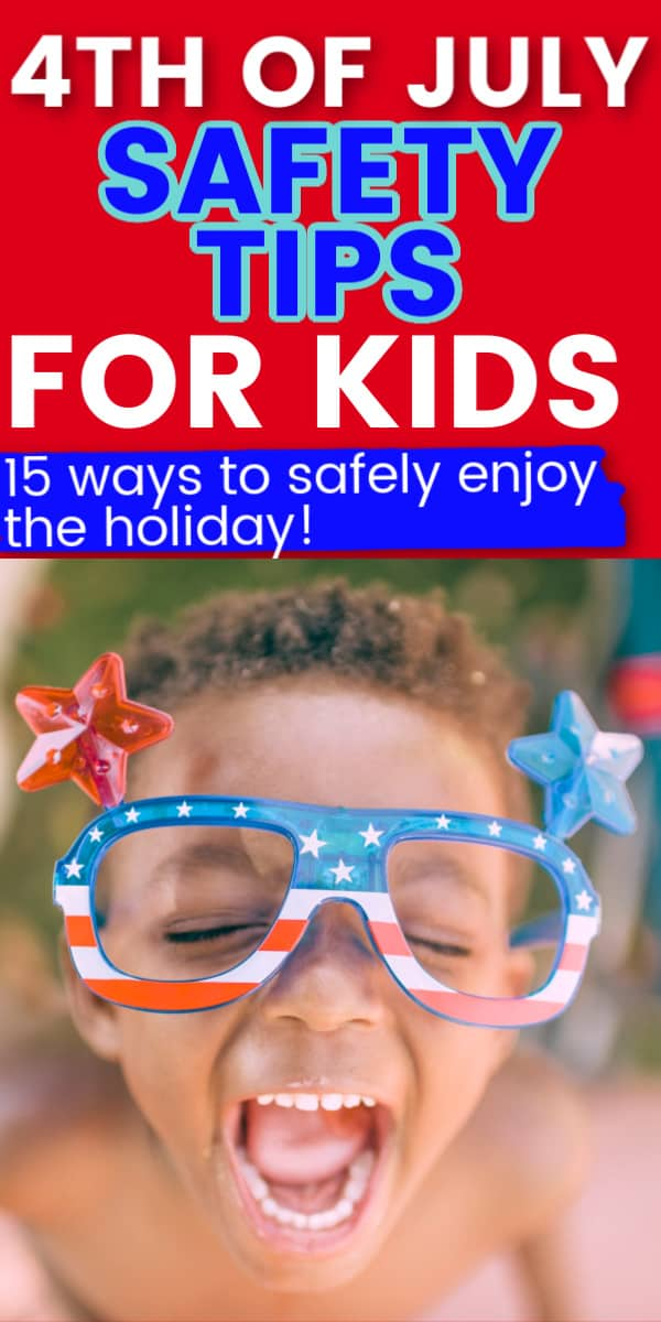 close up of a little african american boy with fourth of july glasses on with text overlay that says 4th of july safety tips for kids