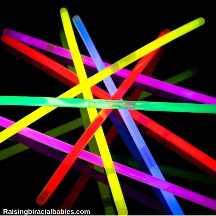 glow sticks, which can be a great alternative for sparklers for kids on the 4th of july