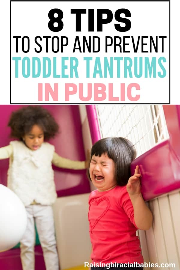 A toddler girl having a tantrum in a play area with a child in the background with text overlay that says 8 tips to stop and prevent toddler tantrums in public.