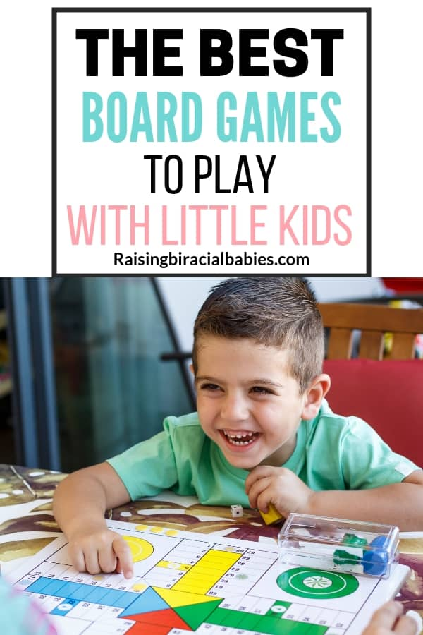 a little boy laughing and playing a board game with text overlay that says the best board games to play with little kids.