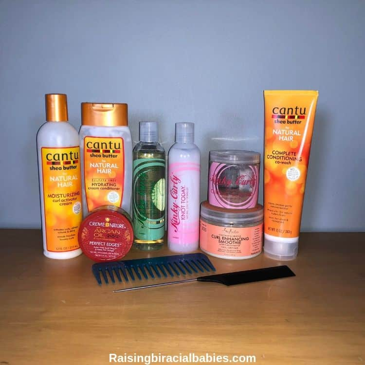 several hair products for mixed hair