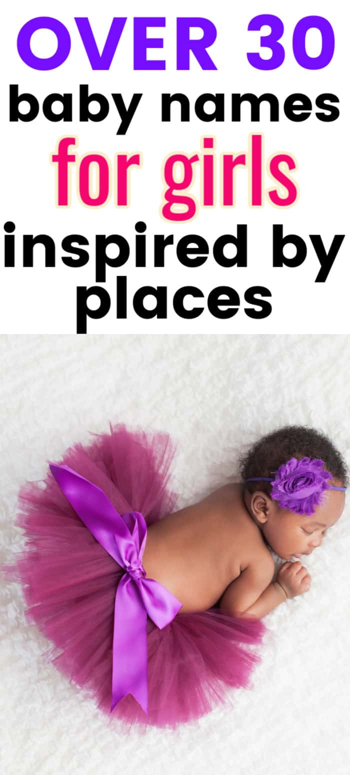 a close up of an african american baby girl in a purple tutu with text overlay that says over 30 baby names for girls inspired by places