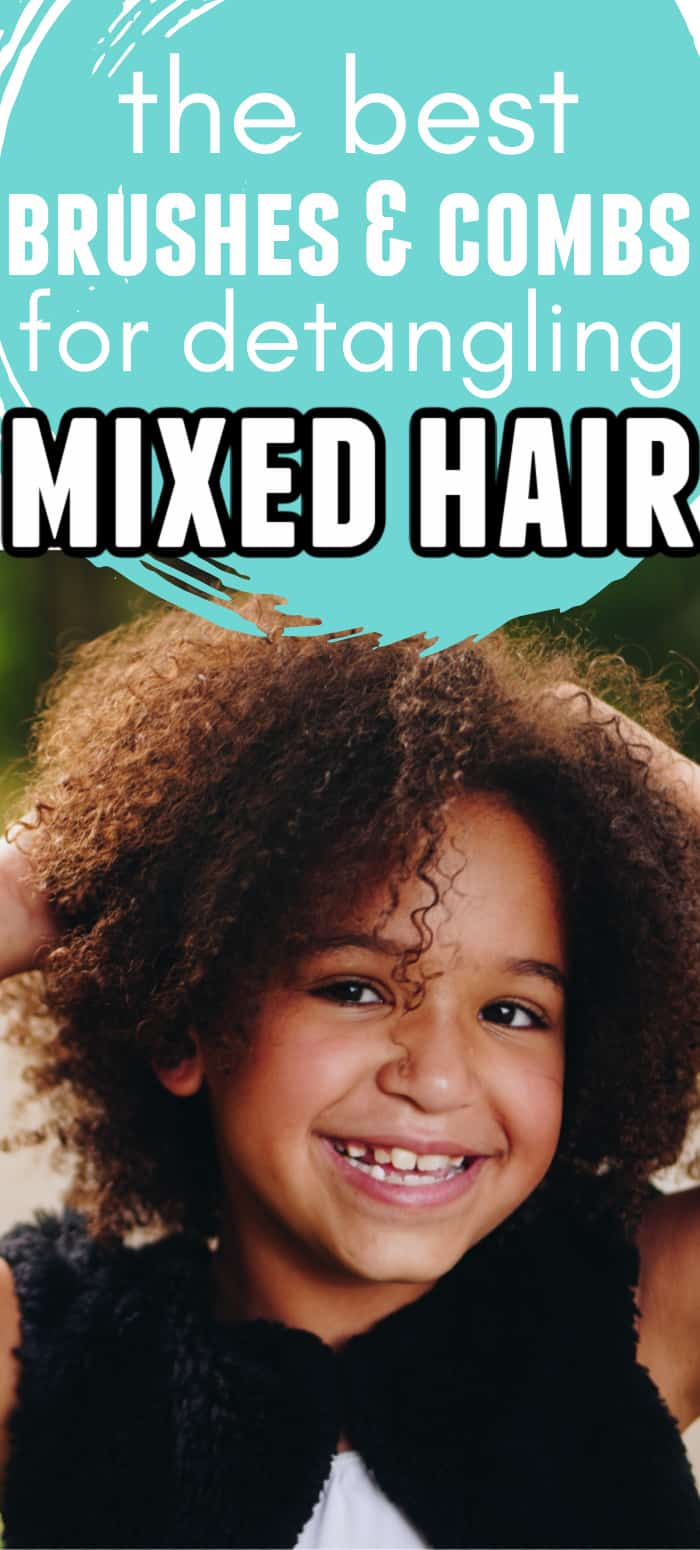 little mixed girl with curly hair smiling with text overlay that says the best brushes and combs for detangling mixed hair