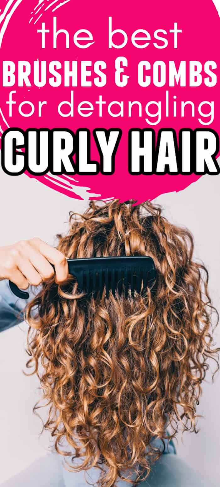 woman with curly hair flipped over, combing it with text overlay that says the best brushes and combs for detangling curly hair