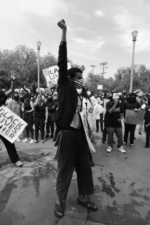 A man protesting for Black Lives Matter